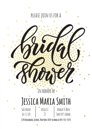 Bridal Shower invitation card template. Classic gold calligraphy vector lettering. White background with golden glittering dot pattern decoration
