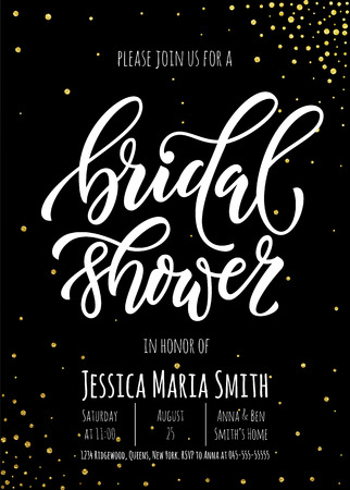 Bridal Shower invitation card template. Classic gold calligraphy vector lettering. Black background with golden glittering dot pattern decoration