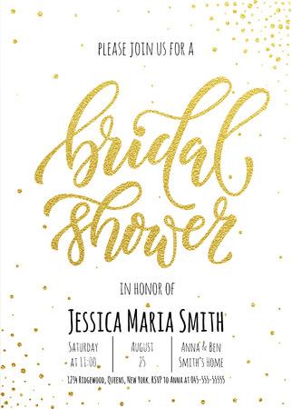 Bridal Shower uitnodiging kaart sjabloon. Classic goud kalligrafie vector letters. Witte achtergrond met gouden glinsterende decoratie puntpatroon Vector Illustratie