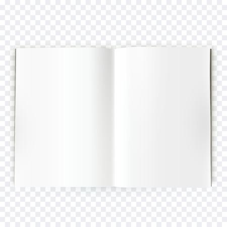 Vektorgeöffneter leeren Magazin verbreiten. Buch ausgebreitet mit leeren weißen Seite. Kalkulationstabelle isoliert auf transparentem Hintergrund