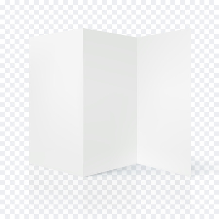 folded: Vector open blank folding paper leaflet. Folded paper shee blank white page. Spreadsheet isolated on transparent background