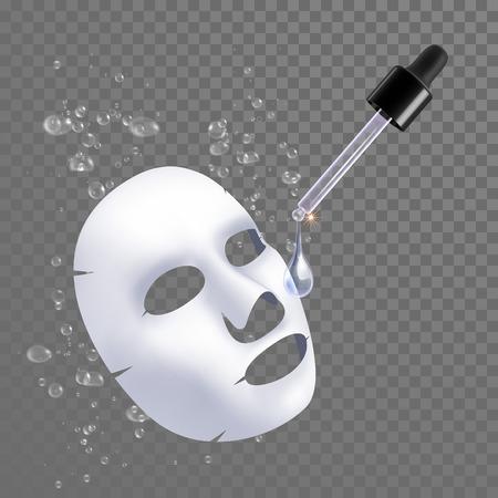 blatt: Vector 3D Bogen Gesichtsmaske Feuchtigkeitsbehandlung. Verpackungsdesign für Gesichtsmaske mit Tropfen von Hyaluronsäure Feuchtigkeitskomplex