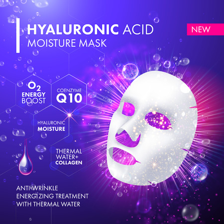Collagen facial 3D mask package design. Cell illuminating treatment solution. Enriched moisturizing snail serum for women with dropper on pink background