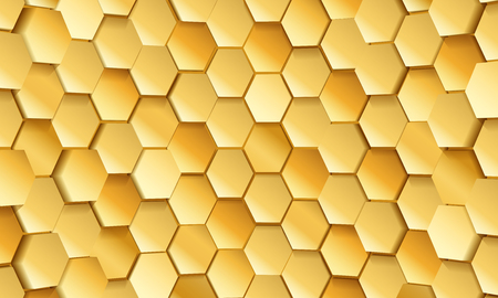 Gold tile of honeycomb shape plates background. Golden glittering pailettes hexagon texture. Semi spherical tiling luxury fashion background. Snake skin scales interior texture