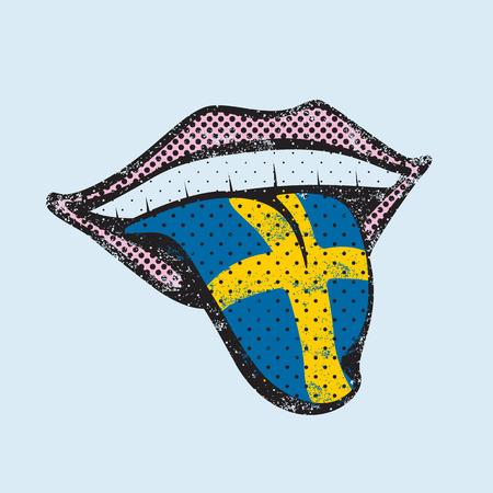 translator: Swedish language learning. Study Swedish icon for dictionary, translator. Flag of Sweden, Stockholm for language speaking on tongue Illustration