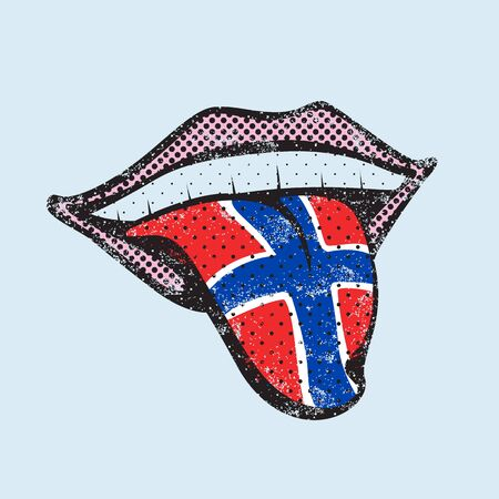 talking dictionary: Norwegian language learning. Study Norwegian icon for dictionary, translator. Flag of Norway, Oslo for language speaking on tongue