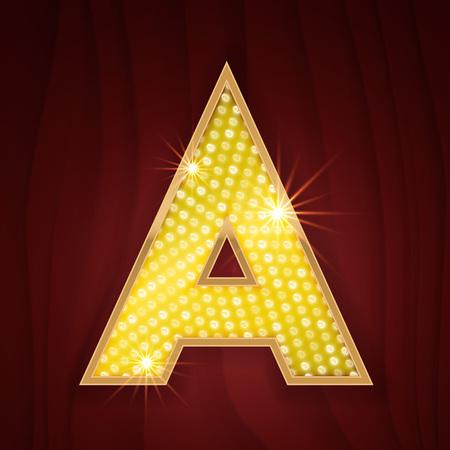 Gold light lamp bulb letter A. Sparkling lightning glitter shine alphabet for light board. Broadway show glowing shining golden alphabet letter. Chicago musical cabaret style Vettoriali
