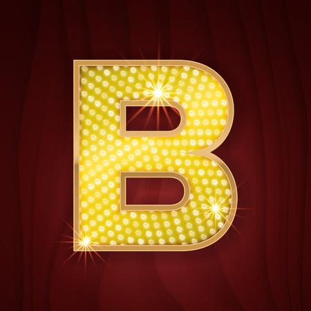 broadway show: Gold light lamp bulb letter B. Sparkling lightning glitter shine alphabet for light board. Broadway musical show style stylish glowing shining golden alphabet letter Illustration
