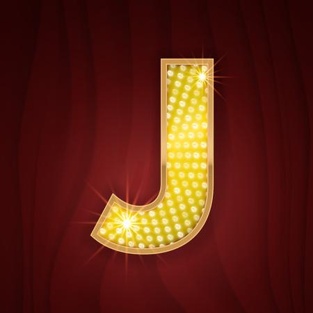 fashion show: Gold light lamp bulb letter J. Cabaret musical show design. Sparkling lightning glitter shine alphabet for light board. Fashion stylish glowing shining golden alphabet letter