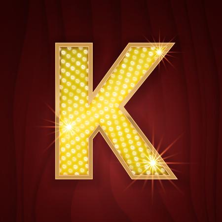 broadway show: Gold light lamp bulb letter K. Sparkling lightning glitter shine alphabet for light board. Broadway musical show style stylish glowing shining golden alphabet letter