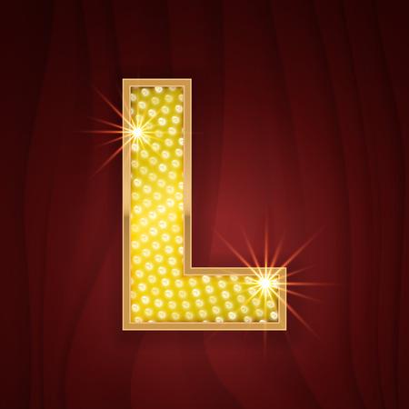lamp light: Gold light lamp bulb letter L. Luxury red carpet show ceremony. Sparkling lightning glitter shine alphabet for light board. Fashion stylish glowing shining golden alphabet letter