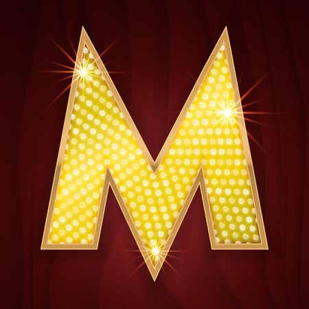 broadway show: Gold light lamp bulb letter M. Broadway burlesque show sparkling lightning glittering alphabet. Rich glitz stylish glowing shining golden alphabet letter Illustration
