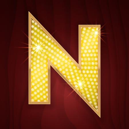 broadway show: Gold light lamp bulb letter N. Las Vegas Casino sparkling lightning glittering alphabet. Broadway musical show glowing shining golden alphabet letter Illustration