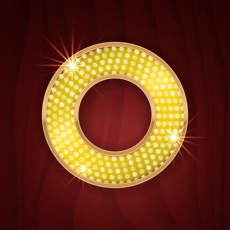 lamp light: Gold light lamp bulb letter O. Sparkling lightning glitter shine alphabet for light board. Burlesque show theater show stylish glowing shining golden alphabet letter