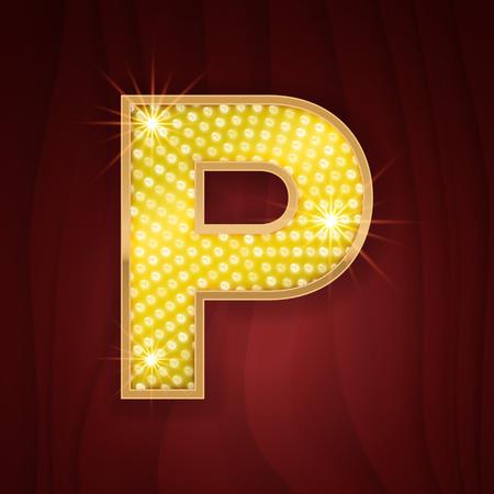 glamor: Gold light lamp bulb letter P. Las Vegas Show sparkling lightning glitter shine alphabet for light board. Fashion stylish glowing shining golden alphabet letter
