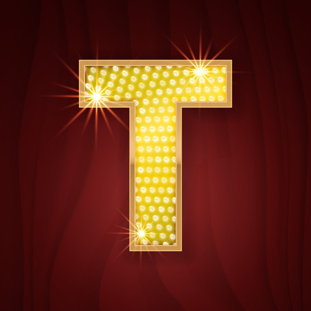 t bulb: Gold light lamp bulb letter T. Las Vegas Casino sparkling lightning glittering alphabet. Rich glitz stylish glowing shining golden alphabet letter