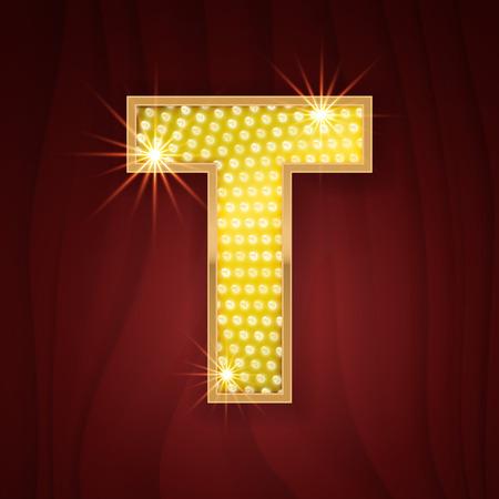 glitz: Gold light lamp bulb letter T. Las Vegas Casino sparkling lightning glittering alphabet. Rich glitz stylish glowing shining golden alphabet letter