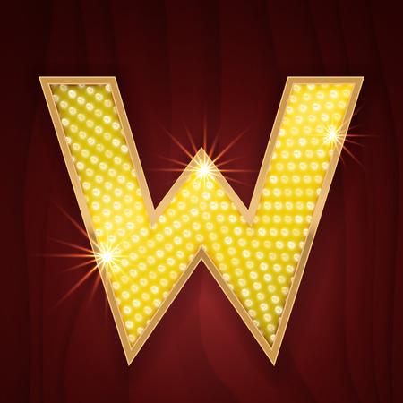 broadway show: Gold light lamp bulb letter W. Sparkling lightning glitter shine alphabet for light board. Broadway chicago musical cabaret show stylish glowing shining golden alphabet letter Illustration