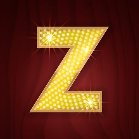 broadway show: Gold light lamp bulb letter Z. Sparkling lightning glitter shine alphabet for light board. Broadway musical show style stylish glowing shining golden alphabet letter