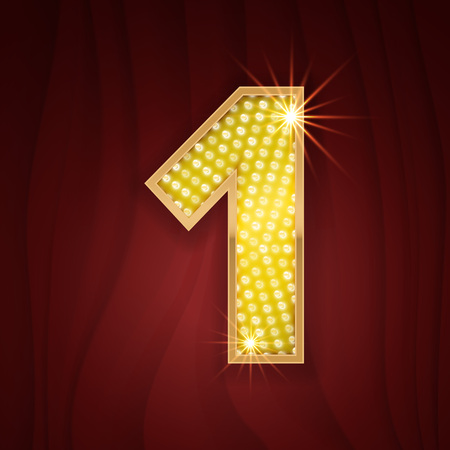 broadway show: Gold light lamp bulb font number 1 One. Sparkling glitter design in style of vegas casino, burlesque cabaret and broadway show decoration. Shining numbers symbols of alphabet set for light board