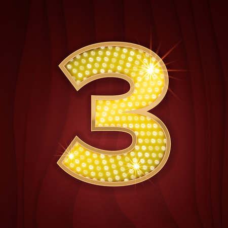 broadway show: Gold light lamp bulb font number 3 Three. Sparkling glitter design in style of vegas casino, burlesque cabaret and broadway show decoration. Shining numbers symbols of alphabet set for light board