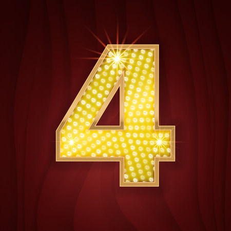 broadway show: Gold light lamp bulb font number 4 Four. Sparkling glitter design in style of vegas casino, burlesque cabaret and broadway show decoration. Shining numbers symbols of alphabet set for light board