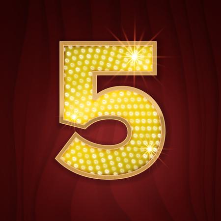 Oro lámpara de luz bombilla número de fuente 5 Cinco. diseño de brillo chispeante en el estilo del casino de Las Vegas, el cabaret burlesque y la demostración de Broadway decoración. Luminoso número de símbolos alfabeto conjunto de mesa de luces Foto de archivo - 62526333