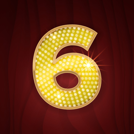 broadway show: Gold light lamp bulb font number 6 Six. Sparkling glitter design in style of vegas casino, burlesque cabaret and broadway show decoration. Shining numbers symbols of alphabet set for light board