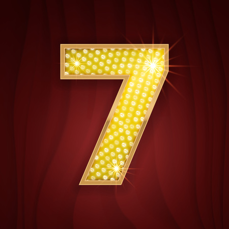 broadway show: Gold light lamp bulb font number 7 Seven. Sparkling glitter design in style of vegas casino, burlesque cabaret and broadway show decoration. Shining numbers symbols of alphabet set for light board
