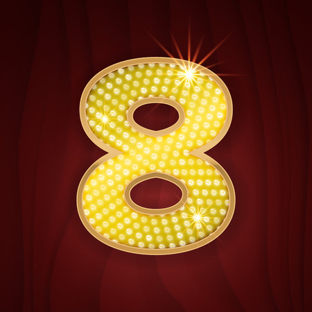 broadway show: Gold light lamp bulb font number Eight 8. Sparkling glitter design in style of vegas casino, burlesque cabaret and broadway show decoration. Shining numbers symbols of alphabet set for light board