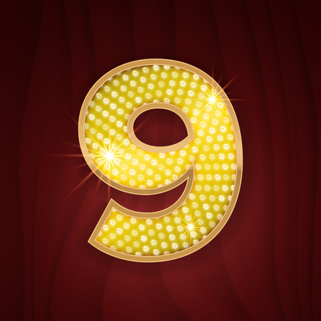 broadway show: Gold light lamp bulb font number 9 Nine. Sparkling glitter design in style of vegas casino, burlesque cabaret and broadway show decoration. Shining numbers symbols of alphabet set for light board