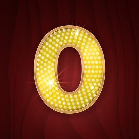 cabaret: Gold light lamp bulb font number 0 Zero, null. Sparkling glitter design in style of vegas casino, burlesque cabaret and broadway show decoration. Shining numbers symbols of alphabet set for light board
