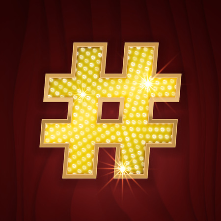 broadway show: Gold light lamp bulb font symbol Hashtag. Sparkling glitter design in style of vegas casino, burlesque cabaret and broadway show decoration. Shining symbols of alphabet set for light board