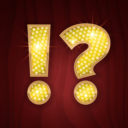 broadway show: Gold light lamp bulb font symbol Exclamation and Question marks. Sparkling glitter design in style of vegas casino, burlesque cabaret and broadway show decoration. Shining symbols of alphabet set