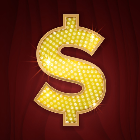 broadway show: Gold light lamp bulb font US Dollar currency sign. Sparkling glitter design in style of vegas casino, burlesque cabaret and broadway show decoration. Shining symbols of alphabet set