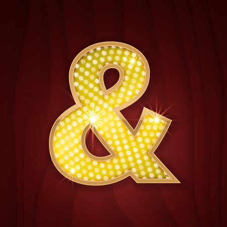 cabaret: Gold light lamp bulb font Ampersand, And sign. Sparkling glitter design in style of vegas casino, burlesque cabaret and broadway show decoration. Shining symbols of alphabet set