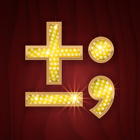 broadway show: Gold light lamp bulb font Minus, Plus, Semicolon, Dot, Comma marks and signs. Sparkling glitter design in style of vegas casino, burlesque cabaret and broadway show decoration Illustration