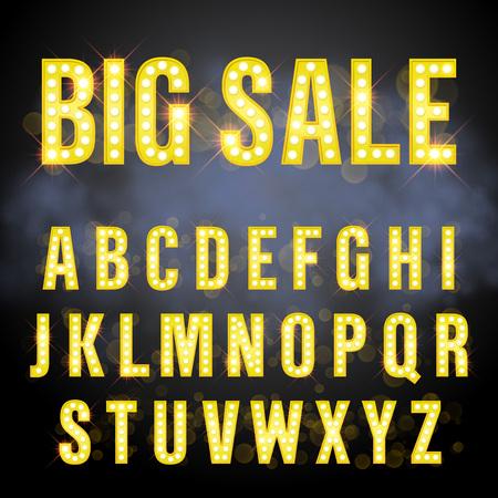 night background: Light retro signboard lamp bulb letter set. Big Sale lettering of vegas casino style alphabet. Gold neon sparkling glitter letters