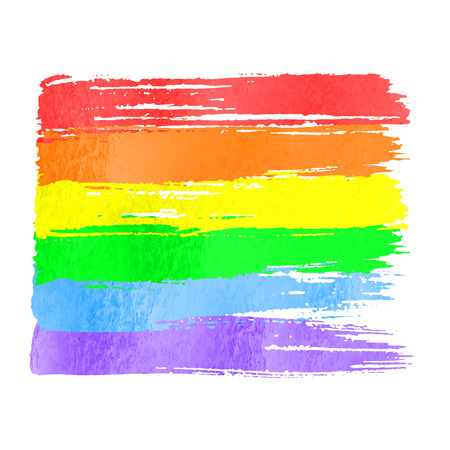 Rainbow flag as symbol of pride. Vector watercolor hand drawn paint stroke brushes on white background. Rainbow spectrum