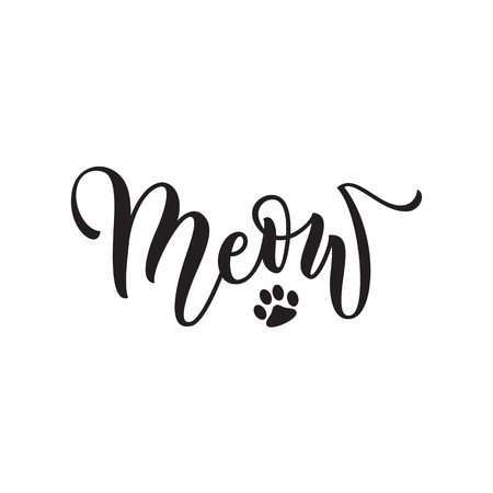 meow: Vector black lettering Meow with cute pink cat paw print background. Sketch drawing kitten meow slogan poster Illustration