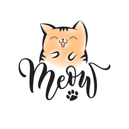 Vector black lettering Meow with cute smiling cat and cat paw print. Sketch drawing kitten meow slogan poster