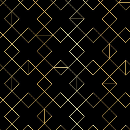 digital paper: Seamless gold geometric pattern with line rhombus. Golden modern abstract geometric pattern on black background Illustration