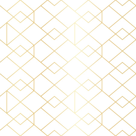 Seamless gold geometric pattern with line rhombus. Golden modern abstract geometric pattern on white background
