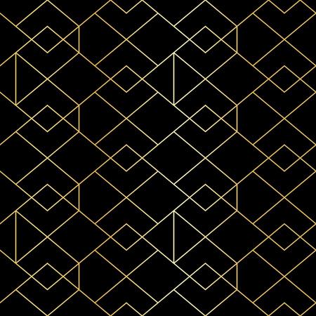 Naadloze gouden geometrisch patroon met lijn ruit. Golden modern abstract geometrische patroon op zwarte achtergrond Vector Illustratie