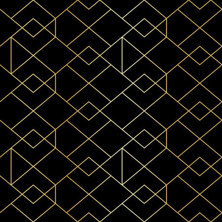 Seamless gold geometric pattern with line rhombus. Golden modern abstract geometric pattern on black background Illustration