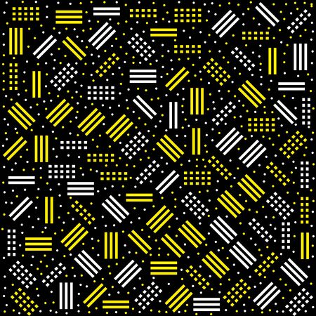 memphis: Vector hipster pattern with black and white geometric forms. Line, square, triangle, circle shape seamless . Retro 80s-90s Memphis pattern Illustration