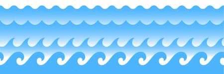 wave ornament: Blue line ocean wave ornament. Seamless vector marine decoration pattern background Illustration