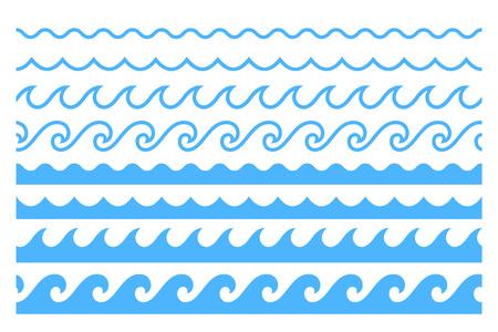 Blauwe lijn oceaan golf ornament. Naadloze vector mariene decoratie patroon achtergrond Vector Illustratie