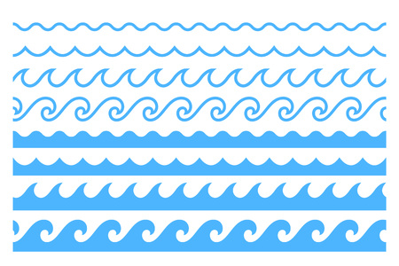 Blue line ocean wave ornament. Seamless vector marine decoration pattern background Vectores
