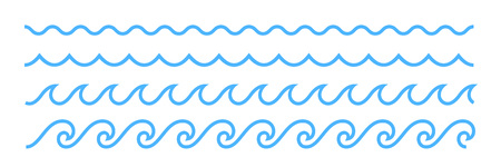 Blue line ocean wave ornament. Seamless vector marine decoration pattern background Stock Vector - 62634316